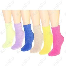 New Lot 6 Pairs Womens Soft Cozy Fuzzy Winter Warm Solid Slipper Socks Size 9-11