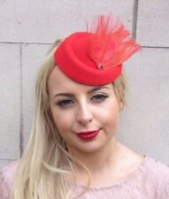 Red Silver Feather Pillbox Hat Hair Fascinator Races Wedding Clip Vintage 3963