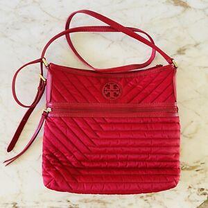 TORY BURCH Solid Red Nylon Crossbody Bag