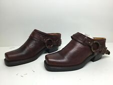 Vtg Womens Frye Square Toe Harness Motorcycle Leather Burgundy Mules Size 8 M