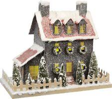 "Lighted Lrg 16"" Grey Paper Mache Putz Christmas Saltbox House~Vintage/Primitive"