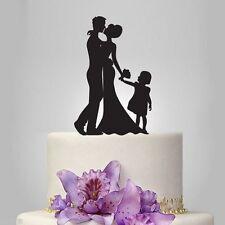 Nuestra silueta impresionante Novia & Novio Y Niño Boda Cake Toppers