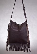 new Genuine Leather Boho Dark Brown Medium Bag Crossbody Handbag Fringes