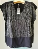 EILEEN FISHER ~ Black U-Neck Cap Sleeve Silk Sequin Top SIZE PM Retail $318 NWT