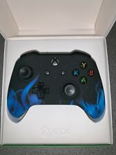 """Microsoft Xbox One S Wireless Custom Controller - """"Blue Fire"""" (Soft Touch)"""