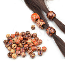 50Pcs Wooden Dreadlock Hair Beads for Braid Hair Extension DIY Jewelry Craft NEW