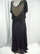 """Org.Leonie Creation""Vtg 20s Black Illusion Lace/Silk Layers Dress-Bust 42/M-L"