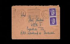 Germany WWII Vertical Hitler Head Pair Vienna 1944 to R.A.D. Cover  8o
