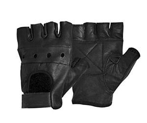 Biker Handschuhe Leder ohne Finger Fingerlinge Crossbike Security Airsoft S-XXL