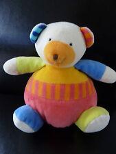 i- DOUDOU PELUCHE BOULE BABYSUN  baby sun  OURS ROSE ORANGE JAUNE BLEU GRELOT