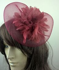 dark deep red feather crin fascinator hair clip headpiece wedding party piece