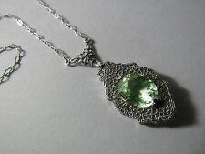 "Antique Edwardian Art Deco Pierced Filigree Lavalier Green Pendant 16"" Necklace"