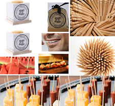 2 x TOOTH PICKS HOLDERS WOODEN 400 TOOTHPICKS FRUIT COCKTAIL STICKS RIBBON GIFT