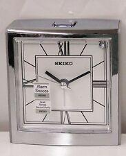 SEIKO - ALARM CLOCK SILVER-TONE METALLIC ASCENDING ALARM  QHE123SLH