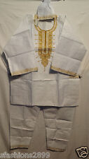 African Clothing Men Brocade 3Pcs Pant Suit Dashiki boho White Gold Free Size