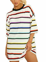 Womens Stripe Printed Baggy Oversized Boyfriend T-Shirt Dress Tunic Longline Top