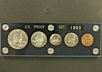 1953 US Mint Silver Proof Set 5 Coins Acrylic Holder .50 .25 .10 .05 .01 RARE