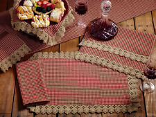 Placemats Set of 2 Burgundy Tan Gingham Check Ava Lace Country Primitive Kitchen