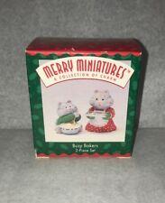 1996 Hallmark Christmas Merry Miniatures Busy Bakers 2pc Qfm8121 Mib Cat Kitten