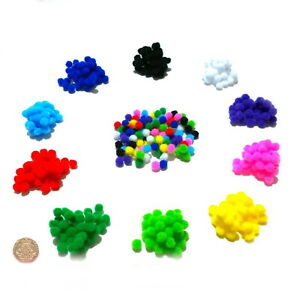 High Quality Small Pom Poms 8mm 10 Colours or Assorted Packs of 50-500 Pompoms