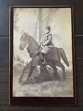 Antique Cabinet Card Photo Young Boy an Incredibly Detailed Unique Horse Prop