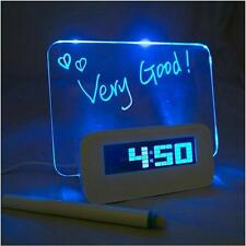 USB LED Light Fluorescent Message Board Alarm Clock Digital Calendar DF US