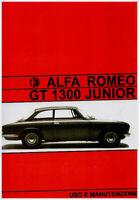 Alfa Romeo GT 1300 JUNIOR  -   manuale uso e manutenzione!!!