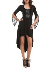 Disney MALEFICENT Black Corset Dress XS Hi-Lo Lace Bell Sleeves Hot Topic Gothic