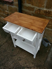 H90 W60 D30cm BESPOKE WHITE SATIN ENGLISH OAK TOP CONSOLE HALL TABLE 2 DRAWERS