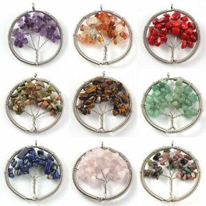 Natural Crystal Quartz Tree of Life Stone Pendant Amulet Healing Reiki Chakra