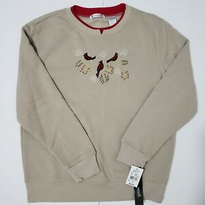 WomensPetite Medium Cardinal Christmas Sweater Embroidered Fleece Sweatshirt