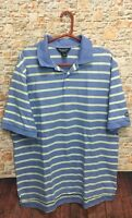 Brooks Brothers Country Club Men's Large Short Sleeve Polo Shirt Blue Striped k