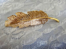 Girl lady side hair clip Barocco golden feather hair accessories vintage