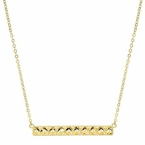 Eternity Gold Horizontal Textured Bar Necklace in 10K Gold