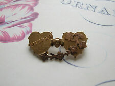 Mizpah 9ct Gold fronted Double heart brooch   1