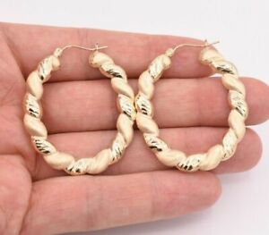 "2"" Large Twisted Diamond Cut Bamboo Satin Hoop Earrings Real 10K Yellow Gold"