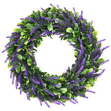 Artificial Lavender Wreath 16.5'' Green Leaves Boxwood Wreath Home Door Decor