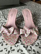 ❤️ NEW LOOK Size 4 Pink Floral Kitten Heels VGC