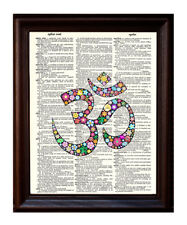 Om Flower - Dictionary Art Print Printed On Authentic Vintage Dictionary Book