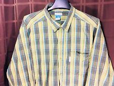 MEN'S COLUMBIA XL Green Plaid Long Sleeve Cotton Button Up Shirt