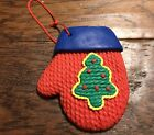 Clay Christmas Ornament Mitten Shaped