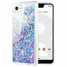 Google Pixel 3 XL Case Glitter Liquid Crystal Clear Shockproof Cover Blue Purple
