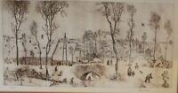 Adam Wurtz Hungarian Artist Signed Ltd Ed Etching Print 26/200 Winter Landscape