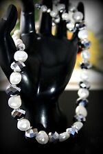 925 Sterling Silver Natural Fresh Water Pearl Necklace w Swarovski Crystal Stone