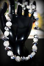 925 Sterling Silver Genuine Fresh Water Pearl Necklace w Swarovski Crystal Stone