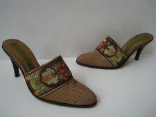 "CYDNEY MANDEL LEATHER MULES 3.5"" HEELS WOMEN SIZE US 6 SUPER HOT HAND MADE"