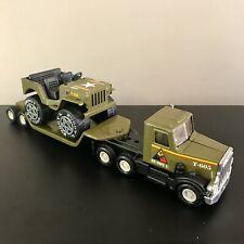 Vintage Buddy L Army Tank/Jeep Transporter Truck T-605 W Jeep T-461, Japan