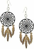 Handmade Laser Cut Dream Catcher Wood Dangle Earrings