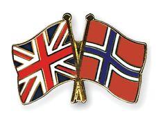 United Kingdom & Norway Friendship Flags Enamel Lapel Pin Badge