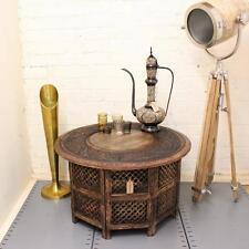 Mesa de café redonda grandes Marrón talladas a mano de madera maciza, lámpara de lado indio Vintage